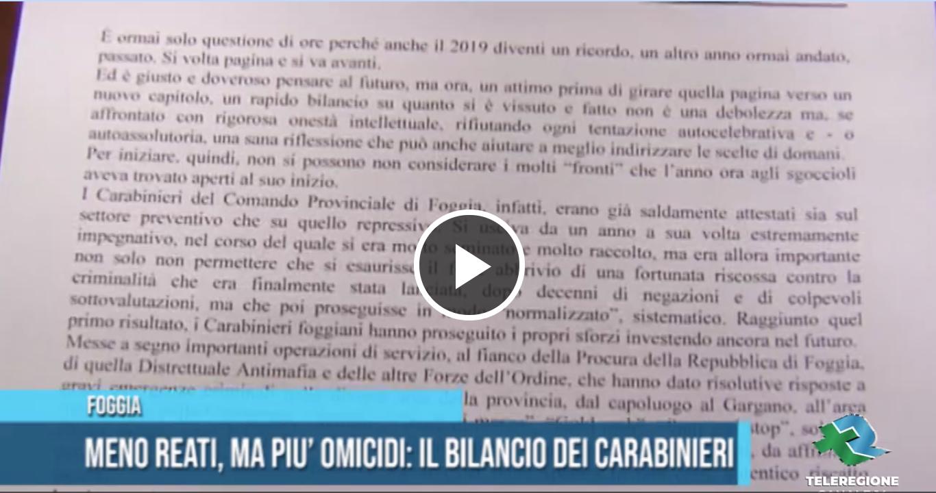 Carabinieri dati fine anno Foggia